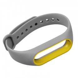 Band Strap for Xiaomi Band 2 Mi Band 2 Double Colors TPU Band Strap Gray+Yellow