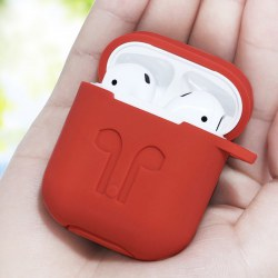 Case Cover For AirPods Silicone Protective Case Cover With Anti Lost Lock Red
