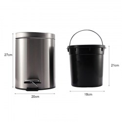 Small Round Step Trash Can with Close Lid Removable Inner Wastebasket Anti-Fingerprint Stainless Ste