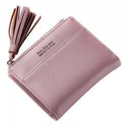 Lady Short Wallet Simple Press Button Multi-card Fringe JY501-2 Dark Pink