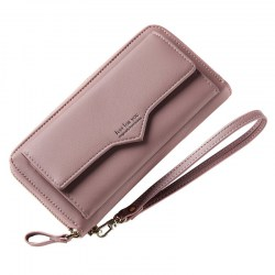 Lady Long Wallet Simple Zipper Multi-card Mobile Phone Cash Pocket JY102-1 Dark Pink