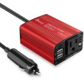 Car Use Inverter 150W 12V to 110V Dual USB Ports European Standard Red