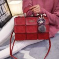 Women Grid Pattern Shoulder Bag Red
