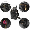 Korean Version Fashion PU Backpack Black