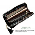 Lady Long Wallet Simple Zipper Multi-card Cross Pattern Fringe JY1001-1 Black