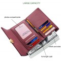 Lady Mid-long Wallet Multi-card Fashion Press Button Cash Pocket JY603-3 Claret
