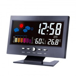 Color LCD Thermometer Hygrometer Voice Control Weather Station Alarm Clock