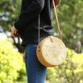 Round Women Handbag Star Pattern Rattan Straw Crossbody Bag with Button Clip