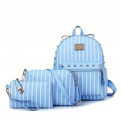 3Pcs Fashion Women Striped Backpack with Clinch Bolt Shoulder Bag Hand Bag