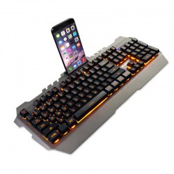 104 Keys Metal Panel Waterproof Wired Keyboard With Game Mechanical Feel