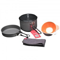 ALOCS CW-C26 Outdoor Camping Cookware Pot Frying Pan Bowl Set For 1-3 Persons