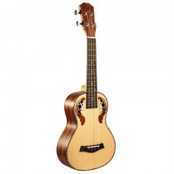 23 Inch Carved Spruce Tree Acoustic Guitar Grape Hole 4 Strings Small Ukulele