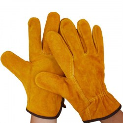 A Pair/Set Fireproof Durable Cow Leather Welder Gloves Anti-Heat Work Gloves