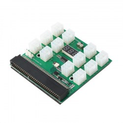 12 Port 6Pin PCI-E Breakout Board With LED Display for GPU Mining Power Supply