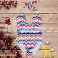 Striped Print Women One-piece Swimwear Bandage Swimming Suit Bathing Suit