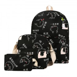3pcs Female Cartoon Cat Canvas Composite Bags BackPacks Shoulder Bag Purse