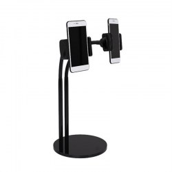 2-in-1 Phone Holder Stand Adjustable Long Arm Desk Stand With Selfie LED Light