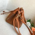 Women Vintage Barrel Solid Color Drawstring Single Shoulder Bag Messenger Bag