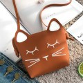 New Cute Cat Face Baby Girls Mini Bag PU Leather Crossbody Bag Shoulder Bag