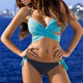 Sexy Bikini Set Push Up Swimsuit Cross Bandage Halter Beach Bathing Suit