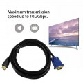 HDMI To VGA Cable 15Pin Adapter Male to Male 1024 x 768p Fast Transfer Rate