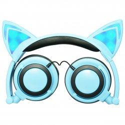Folding Cute LED Light Cartoon Cat earphone For Computer MP3 Mobile phone music