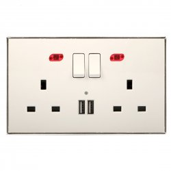 13A Wall-Mount Socket Panel Two Outlets+Two USB Ports with Indicator Light British Standard White