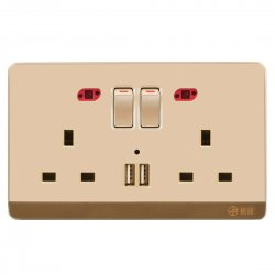 13A Wall-Mount Socket Two Outlets+Two USB Ports With Indicator Light Golden