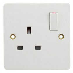 13A Wall Mount Socket Panel Single Outlet British Standard White