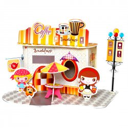 Funny Puzzle  3D Puzzle Coffee Shop Theme Form Board